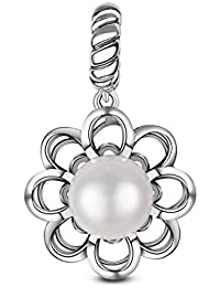 TinySand 925 Sterling Silver Charm With A Shiny Pearl Flower Pendant Fits For Pandora Style Charms Bracelets