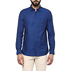 Allen Solly Mens Checkered Slim Fit Casual Shirt (AMSF318G00191340_Blue with White)