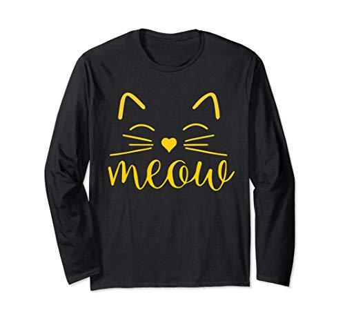 Crazy Cat Kostüm Lady Halloween - Meow Niedliches Katzengesicht Lustiges Kostüm Langarmshirt