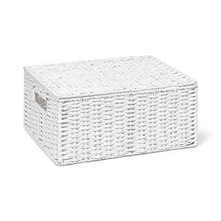 ARPAN Paper Rope Storage Basket Box with Lid-White, Large