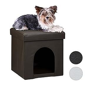 Relaxdays Maison pour petits chiens et chats pliable pliante banc en similicuir confortable Tabouret abri panier malle cube niche HxlxP : 38 x 38 x 38 cm repose-pieds couvercle amovible, noir