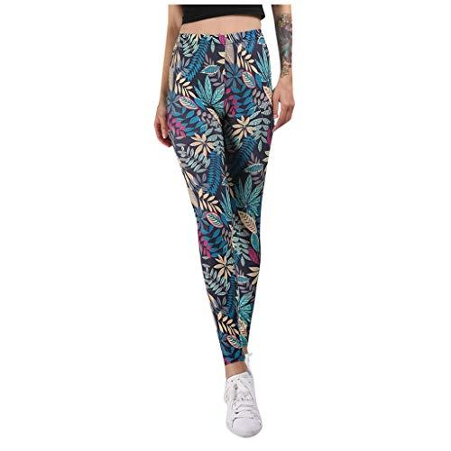 MOTOCO Damen High Waist Leggings Hip Up Yogahosen Mode Drucken Stretch Laufen Fitness Sporthose Hosen(S,Blau)