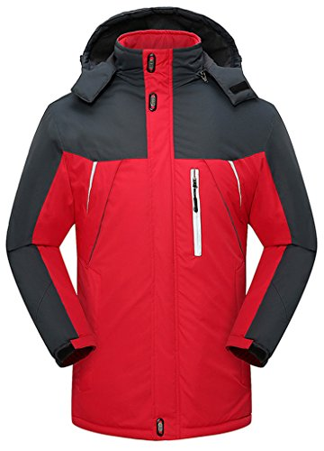 Sawadikaa Anorak Veste de Sport Coupe Vent Imperméable Veste Polaire Veste de Ski Randonnée Manteau Femme Rouge