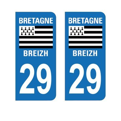 2 Autocollants Plaque Immatriculation 29 Bretagne Finistère - Arrondis