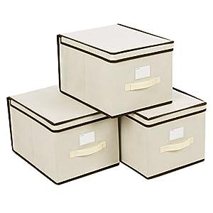 SONGMICS Faltboxen, 3er Set, Aufbewahrungsboxen mit Deckel, Stoffboxen mit Etikettenhalter, Aufbewahrungskörbe…