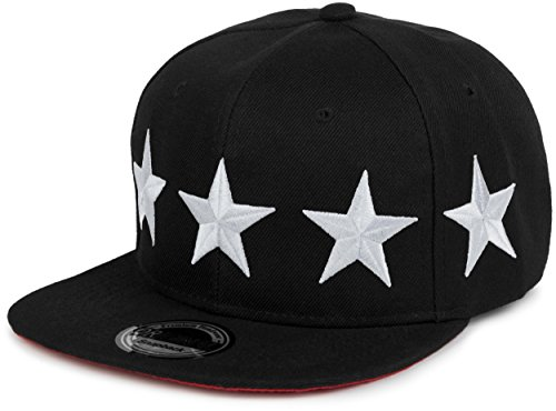 styleBREAKER Snapback Cap 'STARS' im 2-Tone Design, Baseball Cap, Unisex 04023030, Farbe:Schwarz-Weiß