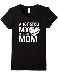 A Boy Stole My Heart He Calls Me Mom Rugby Moms Gift T-Shirt Damen, Größe L Schwarz