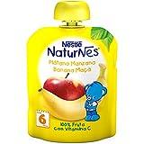 NESTLÉ Bolsita de puré de frutas, variedad Plátano y Manzana, para bebés a partir de 4 meses - Paquete de 16 bolsitas x 90 g