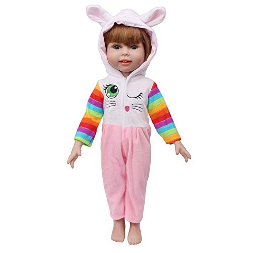 Pijama con Capucha de Oreja de Conejo para 18 Pulgadas Americana Chica Muchacha Muñeca Gusspower