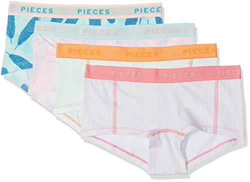 PIECES Damen Panties Pclogo Lady BOXERS14-223 Feathe 4 Pac, 4er Pack, Mehrfarbig (Cloud Dancer Cloud Dancer), 38 (Herstellergröße: M)