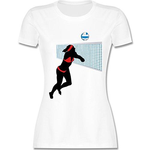 Volleyball - Beachvolleyballspielerin Baggern Netz Ball - tailliertes  Premium T-Shirt mit Rundhalsausschnitt für Damen