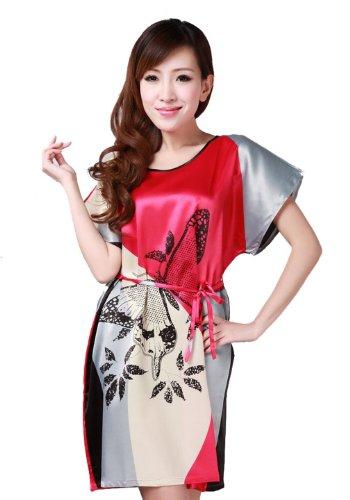 JTC Femme Vêtement de Nuit Robe Imprimé Chinois Avec Ceinture Rouge