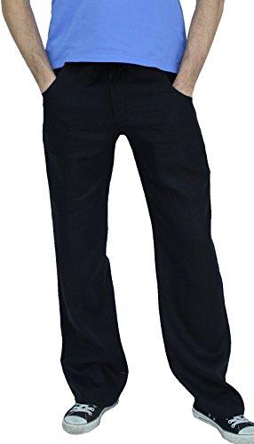 Perano 101-38 Herren Leinen Hose Farbe Schwarz Konfektionsgröße 50 Internationale Größe M schwarz 50/M. -
