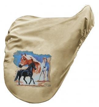 Sattelschoner Sattelbezug mit Aufdruck - Horse Pferde Roma Trio - 07063 beige - Kollektion Bötzel