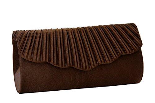 Clutch , Evening Bag, Tote, Satin / Mod. 2104 by fashion-formel Brown