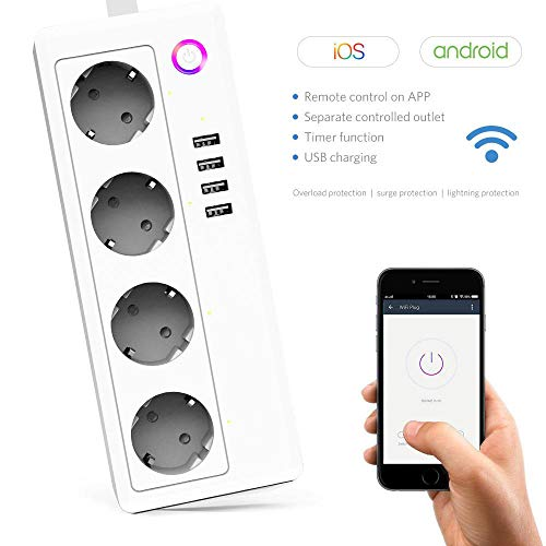 TEEPAO Smart WiFi Power Strip, Regleta Enchufes WiFi 4 Tomas 4USB con Protección De Sobretensiones,Enchufe Múltiple Inteligente,App Control Remoto de Voz con Amazon Alexa Home Assistant 1.5m / 4.9Ft