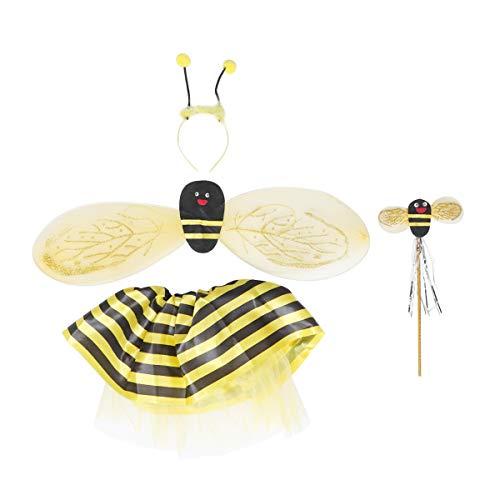 TOYANDONA 4 Stück Kids Bee Kostüm mit Flügeln Stirnband Zauberstab Kleid für Jungen Mädchen (Gelb)