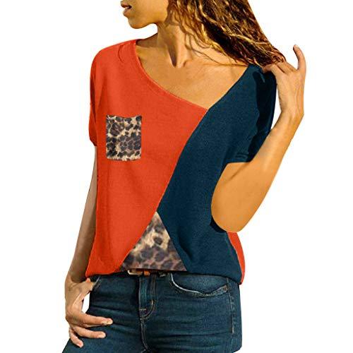 TOPSELD T Shirt Damen, Frauen Farbe O-Ansatz BeiläUfigen KurzäRmlig Patchwork Leopard Spitze T-Shirts Cotton Duck Vest