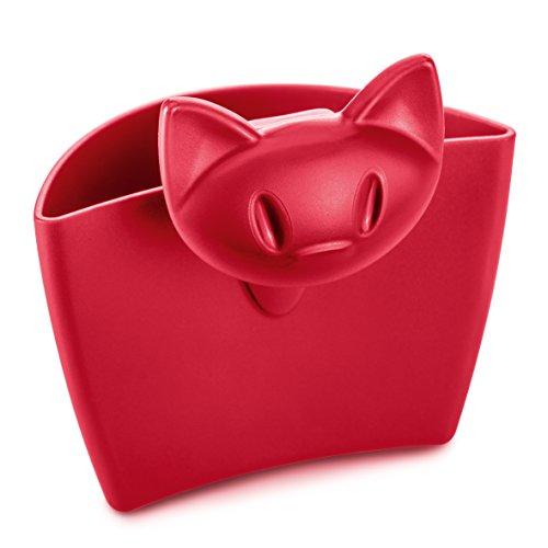 koziol 3498583 Miaou Tassenutensilo, Thermoplastischer Kunststoff, himbeer rot, 5.7 x 7.2 x 7.2 cm