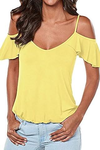 Hippolo pour femme Low Cut Off épaule manches volants pour Sling Top Blouse T-shirt L jaune