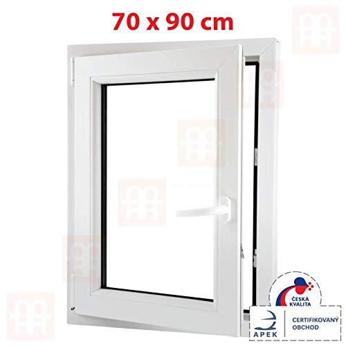 Kunststofffenster | 70x90 cm (700x900 mm) | weiß | Dreh-Kipp-Fenster | links | 6 Kammern