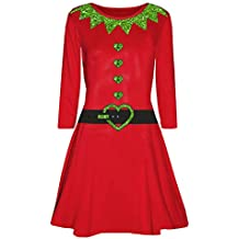 BBestseller Mujer Kimono Vestido Elegante Cuello Redondo Imprimiendo de Navidad Falda Manga Dama de Honor para