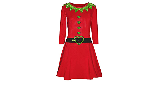 Ladies Christmas Long Sleeve Mini Dresses Womens Round Neck Casual Elegant Elf Santas Little Helper Belt Xmas Print Costume Evening Party Swing Dress Best Prom Cosplay Gift Happy New Year