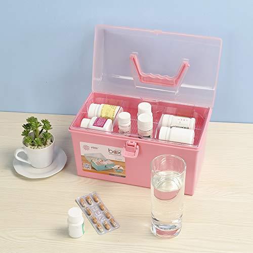 413zbSET gL - Rinboat Caja Botiquín Medicamentos de Plástico para Primeros Auxilios, Color Rosa, 1 Unidad