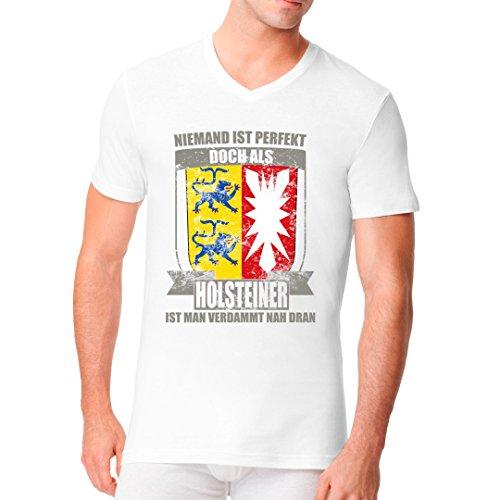 Fun Sprüche Männer V-Neck Shirt - Wappen Shirt Perfekter Holsteiner by Im-Shirt Weiß