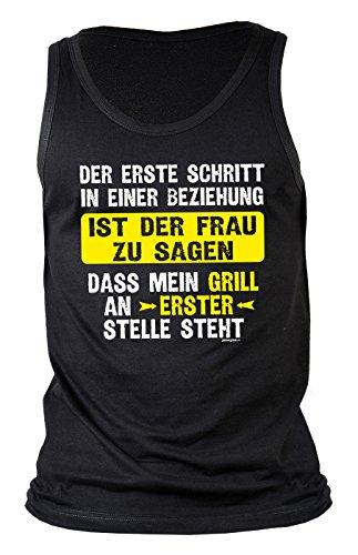 Opi Schritt (Herren Muskelshirt zum Thema Grillen: Der erste Schritt in einer Beziehung, ist der Frau... - Tanktop - Geschenkidee - Grill Party - schwarz)