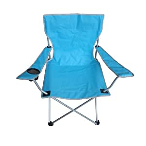 Folding Camping Chair with Chair Arms & Cup Holder for garden fishing, camping or sitting on the beach, Green (Blue)