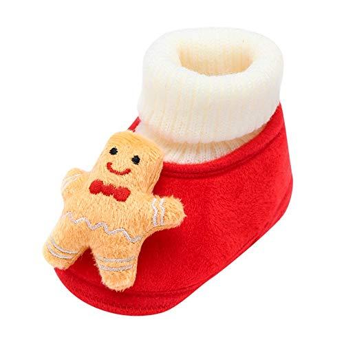 FNKDOR Baby Jungen Mädchen Neugeborene Lauflernschuhe Weihnachten Dekoration Cartoon Babyschuhe Weich Flach Socken Stiefel Winter Warm Krabbelschuhe Gelb 12-15 Monate