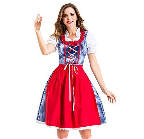 Dirndl Set 2 TLG Midi Trachtenkleid für Oktoberfest Bierfest Gitter Kleid Anzug + Dirndlschürze Sets Traditionelles Midikleid Weihnachten Halloween Cosplay Kostüme Abendkleid (XL, rot)