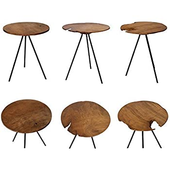 Design beistelltisch couchtisch tisch teakholz eisen holz for Designer couchtisch amazon