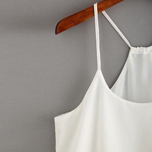 OverDose Damen Lace Chiffon Vest Top Sleeveless Casual Tank Blouse Summer Tops T-Shirt Spitze Weste Sommer Blusen B-Weiß3