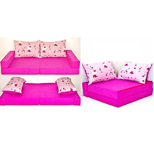 KK H23 rosa-Katze Kindersofa Kindermatratze Sitzkissen Spielsofa Minicouch Set + 2 Kissen (KK H23 (rosa-Katze)) -