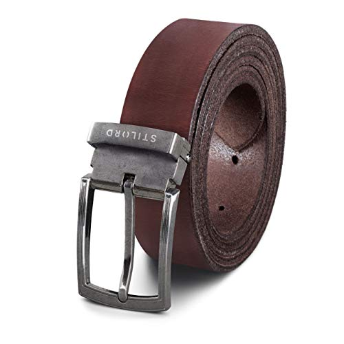 STILORD Cinturón Hombre Mujer Cuero Vintage de Vestir Casual o Para Vaqueros Acortable, Color:cresto - marrón | Hebilla plateada - antigua I, tamaño:Universal 80-130 cm