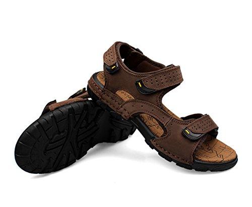 Insun Sandales Homme Cuir Nubuck Chaussures De Randonnée Marron Foncé