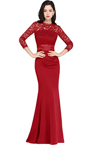 Damen Abendkleider mit ärmel Langes Abendkleider Ballkleid Abschlusskleid Festkleider Rot 40