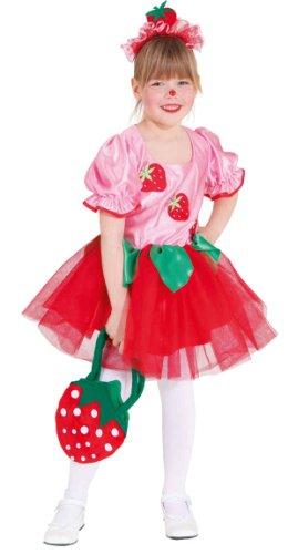 Kinder Erdbeere Kostüm - Kinder Kostüm Erdbeer Mädchen als Obst zu Karneval Fasching Gr.140