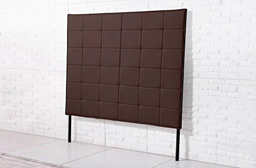Cabecero tapizado de 160 cm con patas para cama matrimonio modelo EMPIRE color chocolate - Sedutahome
