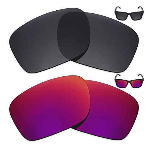 MRY 2Paar Polarisierte Ersatz Gläser für Oakley Holbrook Sonnenbrille-Reiche Option Farben, Stealth Black & Midnight Sun