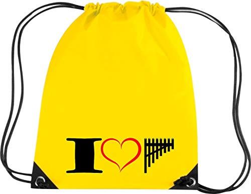Shirtstown Premium Gymsac Musik I love Panflöte Flute, yellow
