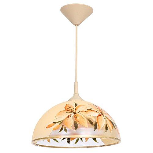 Beige Glasschirm (Hängelampe Beige Orange Blumenmotiv Glas rund Ø30cm Esstisch Retro Pendelleuchte Küche Esszimmer)