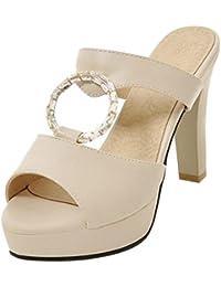 JOJONUNU Mujer Tacon Chunky Mulas Sandalias  Zapatos de moda en línea Obtenga el mejor descuento de venta caliente-Descuento más grande