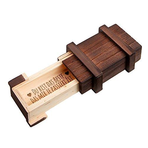 MAGISCHE GESCHENKBOX – Schmuckkästchen mit Gravur – Du bist das Beste – Puzzle-Box aus Holz – Dunkel – Geschenkidee zum Valentinstag und Geburtstag – Geschenk für Frauen und Männer