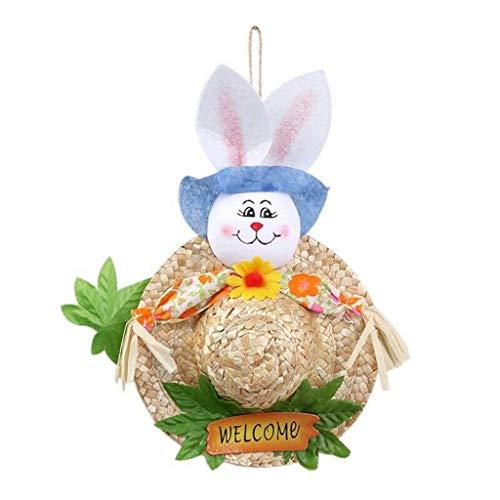 myfilma ❤❤ Ostern Garland Vogelscheuche Bunny handgefertigt kreativ-niedlichen Strohhut für Kinder