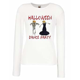 lepni.me Maniche lunghe femminili T-shirt vestiti freschi idee di costume da ballo di Halloween party idee (Small Bianco Multicolore)