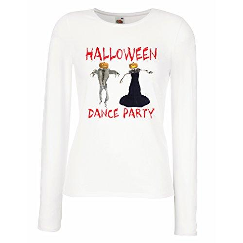 Weibliche Langen Ärmeln T-Shirt Coole Outfits Halloween Tanz Party Veranstaltungen Kostümideen (X-Large Weiß Mehrfarben)