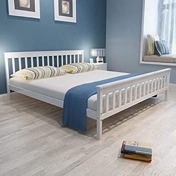 Festnight Bettgestell Holz Bett Modern Holzbett Doppelbett Massivholzbett Mit Lattenrost Kiefer Massiv Weiß 180 X 200 Cm